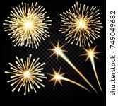 festive golden firework salute... | Shutterstock .eps vector #749049682