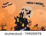 halloween of background | Shutterstock . vector #749050978