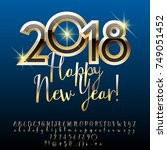 vector chic happy new year 2018 ... | Shutterstock .eps vector #749051452