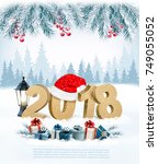 happy new year 2018 background... | Shutterstock .eps vector #749055052