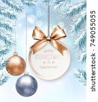 holiday christmas background... | Shutterstock .eps vector #749055055