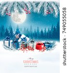 merry christmas background with ... | Shutterstock .eps vector #749055058