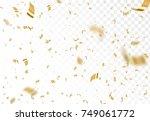 falling shiny golden confetti... | Shutterstock .eps vector #749061772