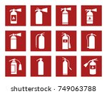 fire extinguisher icons | Shutterstock .eps vector #749063788