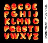 soft flexible neon 3d alphabet... | Shutterstock .eps vector #749070436