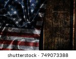 usa flag on a wood surface | Shutterstock . vector #749073388
