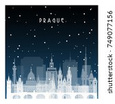 winter night in prague. night... | Shutterstock .eps vector #749077156