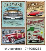 set of vintage car metal signs... | Shutterstock .eps vector #749080258