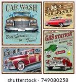 set of vintage car metal signs... | Shutterstock .eps vector #749080258