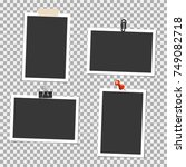 photo frame with pin  clip and... | Shutterstock .eps vector #749082718