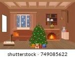 living room interior holiday... | Shutterstock .eps vector #749085622