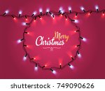 glowing christmas realistic... | Shutterstock .eps vector #749090626