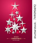 christmas and new years tree... | Shutterstock .eps vector #749090692