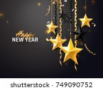 new year 2018 and merry... | Shutterstock .eps vector #749090752