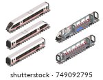 isolated modern fast train.... | Shutterstock .eps vector #749092795