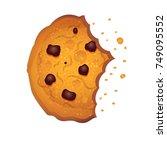 realistic bitten  chip cookie ... | Shutterstock .eps vector #749095552