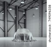 Stock photo modern factory loft hangar with photo studio and covered with cloth car d rendering 749096338