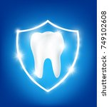 clean and strong  white tooth... | Shutterstock .eps vector #749102608