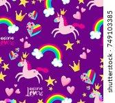 cute princess seamless pattern... | Shutterstock .eps vector #749103385