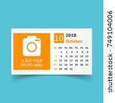 october 2018 calendar. calendar ...   Shutterstock .eps vector #749104006