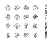 brain icon set. collection of... | Shutterstock .eps vector #749105572