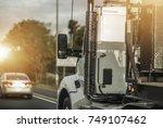 semi truck driver job. heavy...   Shutterstock . vector #749107462