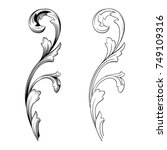 classical baroque vector set of ... | Shutterstock .eps vector #749109316