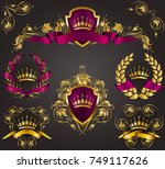 set of golden royal shields... | Shutterstock .eps vector #749117626