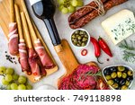 mix of spanish tapas and... | Shutterstock . vector #749118898