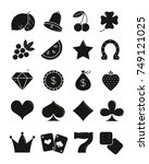 casino black sihlouettes icons... | Shutterstock .eps vector #749121025