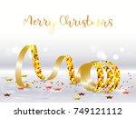 golden streamer with sparkling...   Shutterstock .eps vector #749121112