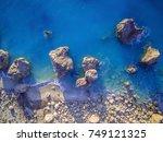 aerial view of kalamitsi beach  ... | Shutterstock . vector #749121325
