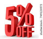 five percent off. discount 5  . ... | Shutterstock . vector #749123572