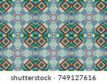 green  gray and blue ethnic... | Shutterstock . vector #749127616