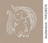 unicorn drawing. white outlined ... | Shutterstock .eps vector #749128276