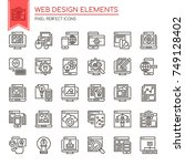 web design elements   thin line ... | Shutterstock .eps vector #749128402
