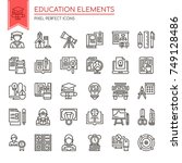 education elements   thin line... | Shutterstock .eps vector #749128486