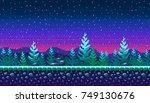 pixel art seamless background.... | Shutterstock .eps vector #749130676