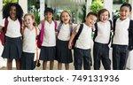 happy kids at elementary school   Shutterstock . vector #749131936