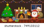 santa claus bring the sack with ... | Shutterstock .eps vector #749133112
