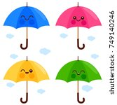 vector set of cute and colorful ... | Shutterstock .eps vector #749140246
