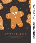 christmas card with gingerbread ... | Shutterstock .eps vector #749141296