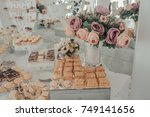 buffet of sweets at the wedding ... | Shutterstock . vector #749141656