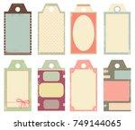 set of vintage labels in shabby ... | Shutterstock .eps vector #749144065