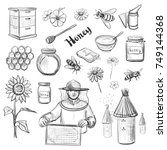 a collection of vector sketches ... | Shutterstock .eps vector #749144368