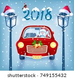 christmas card with santa claus ... | Shutterstock .eps vector #749155432