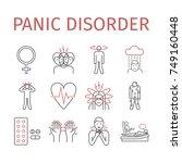panic disorder line icon... | Shutterstock .eps vector #749160448