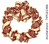 christmas wreath hand drawn... | Shutterstock .eps vector #749161486