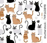 cute cat seamless pattern and... | Shutterstock .eps vector #749163898
