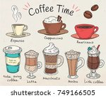coffee time. beautiful... | Shutterstock .eps vector #749166505